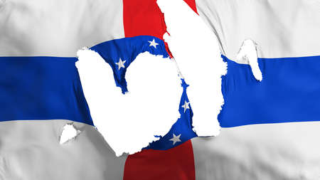 Ragged Netherlands Antilles 1986-2010 flag, white background, 3d rendering Imagens - 125324870