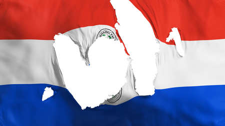 Ragged Paraguay flag, white background, 3d rendering