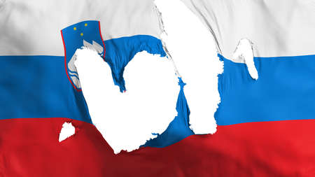 Ragged Slovenia flag, white background, 3d rendering Imagens - 125324877