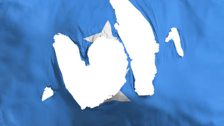 Ragged Somalia flag, white background, 3d rendering