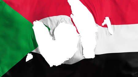 Ragged Sudan flag, white background, 3d rendering Imagens - 125324879