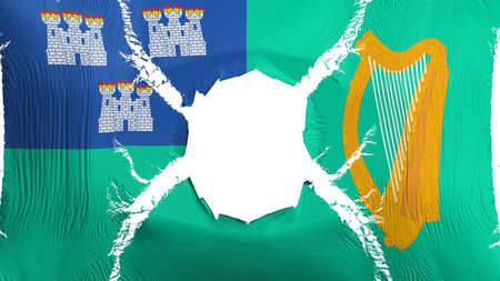 Dublin, capital of Ireland flag with a hole, white background, 3d rendering Imagens - 125324883