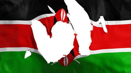 Ragged Kenya flag, white background, 3d rendering Imagens