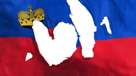 Ragged Principality of Liechtenstein flag, white background, 3d rendering Imagens - 125324896
