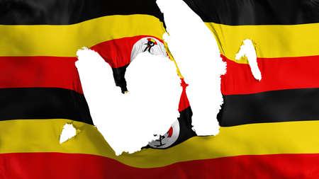 Ragged Uganda flag, white background, 3d rendering Imagens