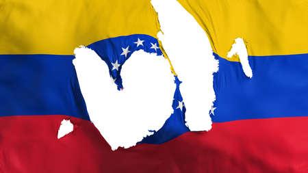 Ragged Venezuela flag, white background, 3d rendering Imagens