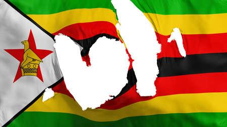 Ragged Zimbabwe flag, white background, 3d rendering