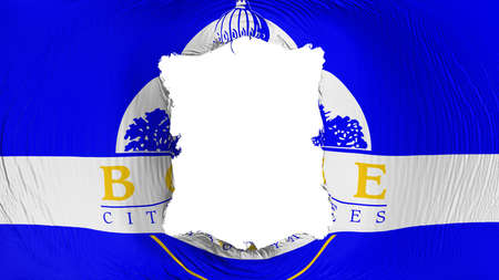 Square hole in the Boise city, capital of Idaho state flag, white background, 3d rendering