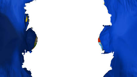 Blasted Montana state flag, against white background, 3d rendering Banco de Imagens