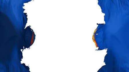 Blasted New York state flag, against white background, 3d rendering