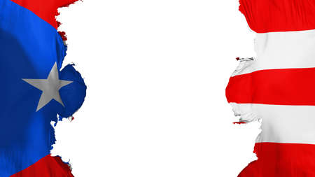 Blasted Puerto Rico state flag, against white background, 3d rendering