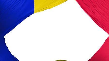 Divided Andorra flag, white background, 3d rendering
