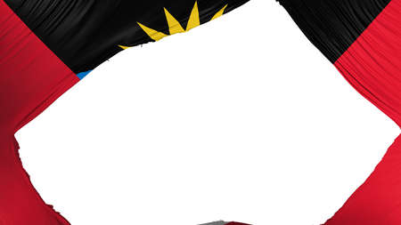 Divided Antigua and Barbuda flag, white background, 3d rendering