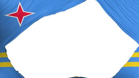 Divided Aruba flag, white background, 3d rendering