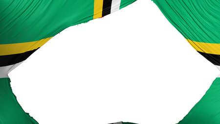 Divided Dominica flag, white background, 3d rendering Banco de Imagens