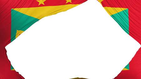 Divided Grenada flag, white background, 3d rendering