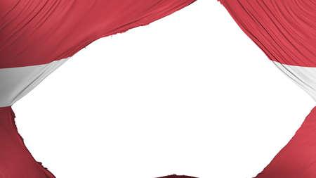 Divided Latvia flag, white background, 3d rendering