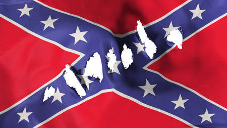 Confederate flag perforated, bullet holes, white background, 3d rendering Stock Photo