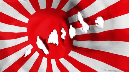 Japan rising sun war flag perforated, bullet holes, white background, 3d rendering