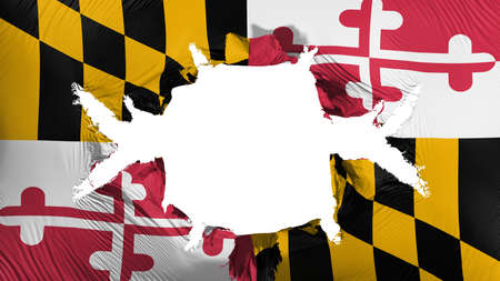 Maryland state flag with a big hole, white background, 3d rendering