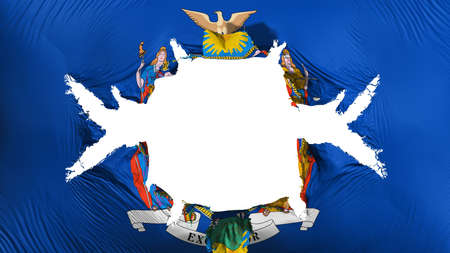 New York state flag with a big hole, white background, 3d rendering