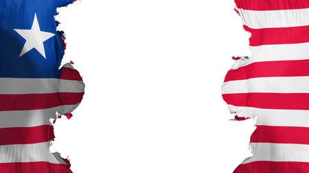 Blasted Liberia flag, against white background, 3d rendering Stock Photo
