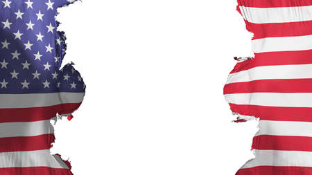 Blasted United States of America flag, against white background, 3d rendering 스톡 콘텐츠