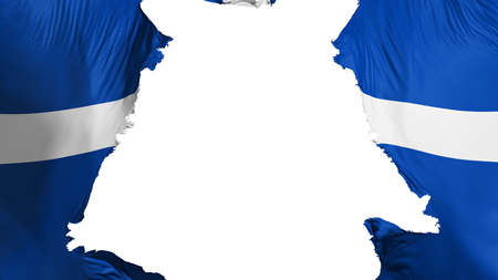 Indianapolis city, capital of Indiana state flag ripped apart, white background, 3d rendering