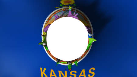 Hole cut in the flag of Kansas state, white background, 3d rendering