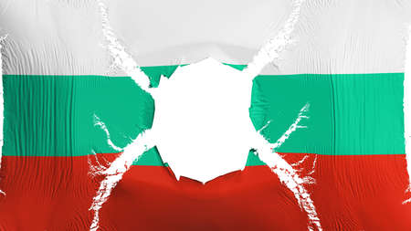 Bulgaria flag with a hole, white background, 3d rendering