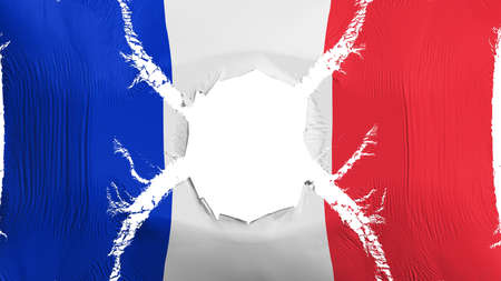 France flag with a hole, white background, 3d rendering