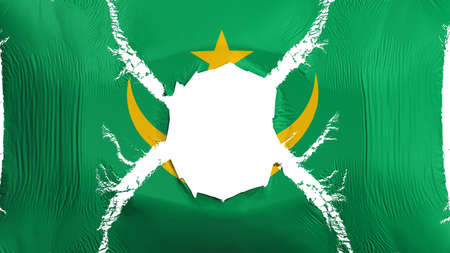 Mauritania flag with a hole, white background, 3d rendering Imagens