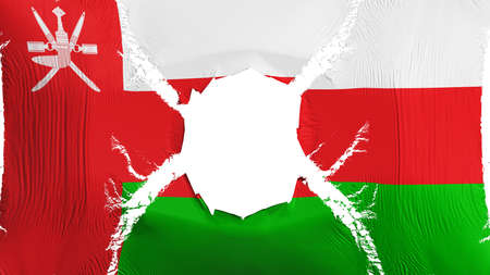 Oman flag with a hole, white background, 3d rendering