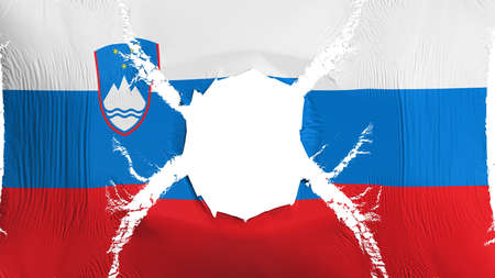 Slovenia flag with a hole, white background, 3d rendering