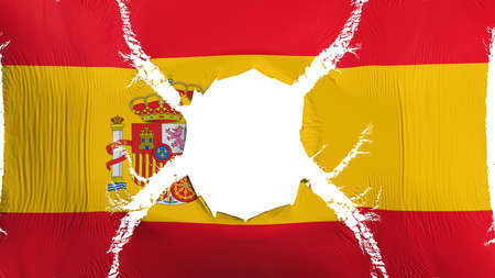 Spain flag with a hole, white background, 3d rendering