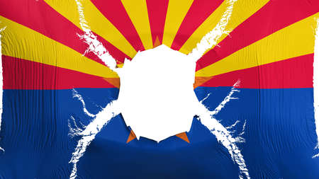 Arizona state flag with a hole, white background, 3d rendering