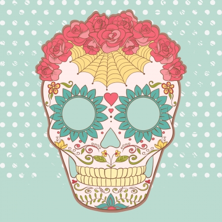 dia de los muertos: Vector image of Sugar Skull can be used for T-shirt, bag and other clothes  Illustration