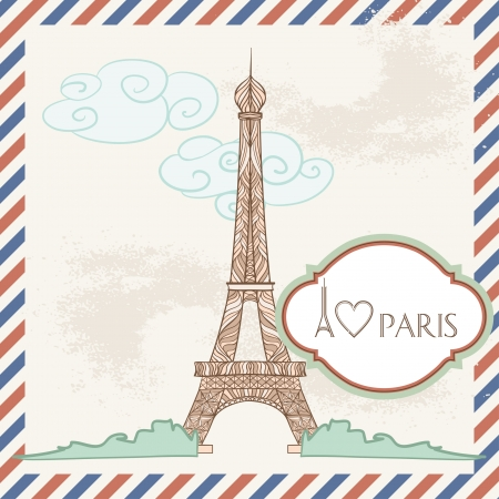 Vector Postcard with France Image  Decorative Eiffel Tower and Frame with text  Vector