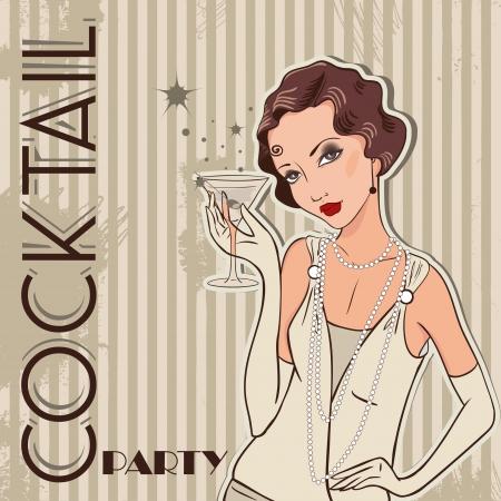 Flapper girl  Retro party invitation design  Cocktail Party