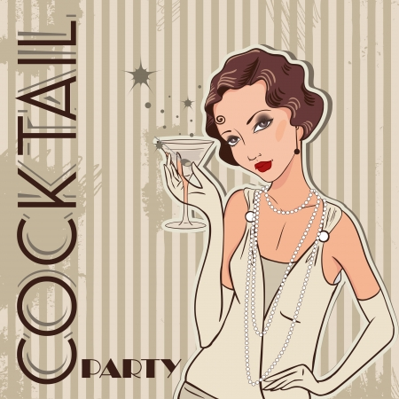 Flapper girl  Retro party invitation design  Cocktail Party  Vector