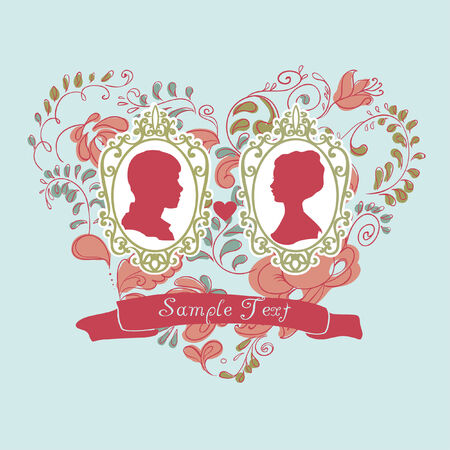 Vector Wedding Card  Ornamental heart  Vector