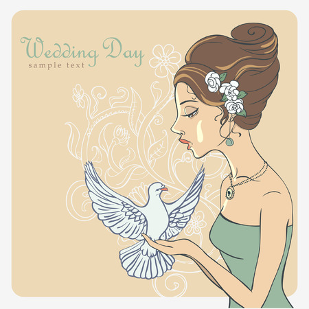 Vector Invite Card  Bride with dove  Vector