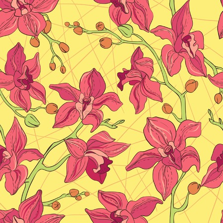 Vector Bright Pattern consist of Orchids  Vector