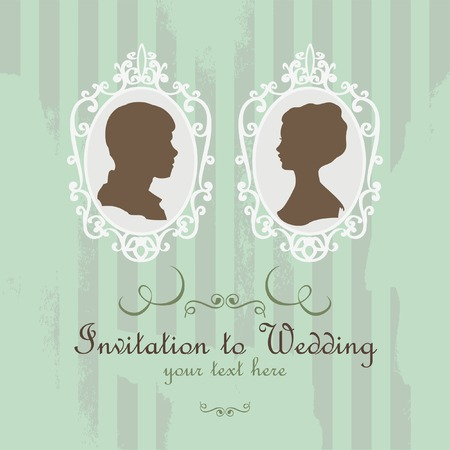 vector retro card can be used for invitation on wedding Vector
