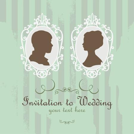 retratos: vetor cart�o retro pode ser usado para o convite em casamento Ilustra��o