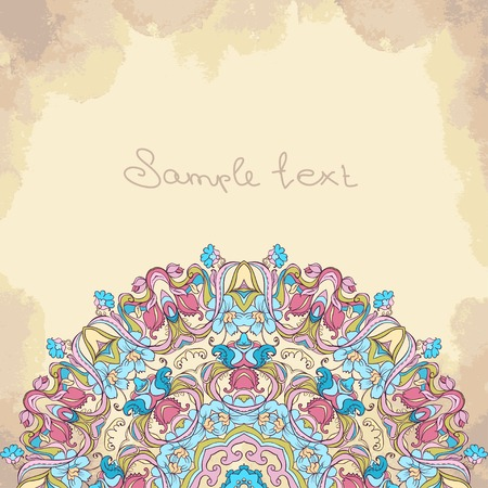 Vector ornamental round lace pattern, circle background with many details