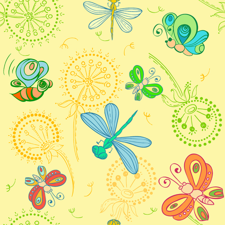 Vector nice pattern with Fun insects Vector