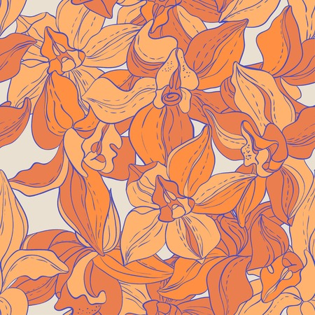 Seamless pattern consist of Flowers Vector