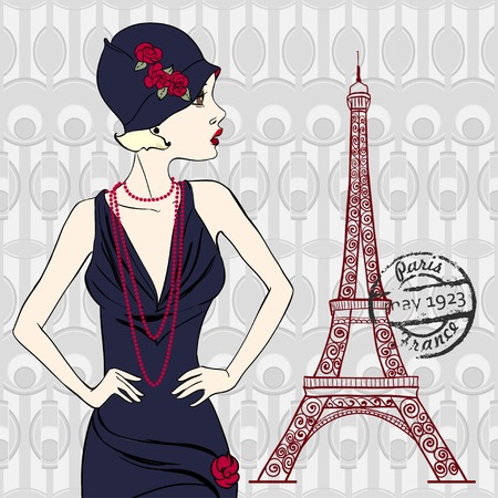 Fashionable woman with eiffel tower Illustration