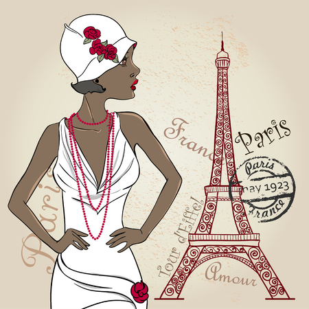 Glamour Señora del afroamericano con la torre Eiffel Ilustración de vector
